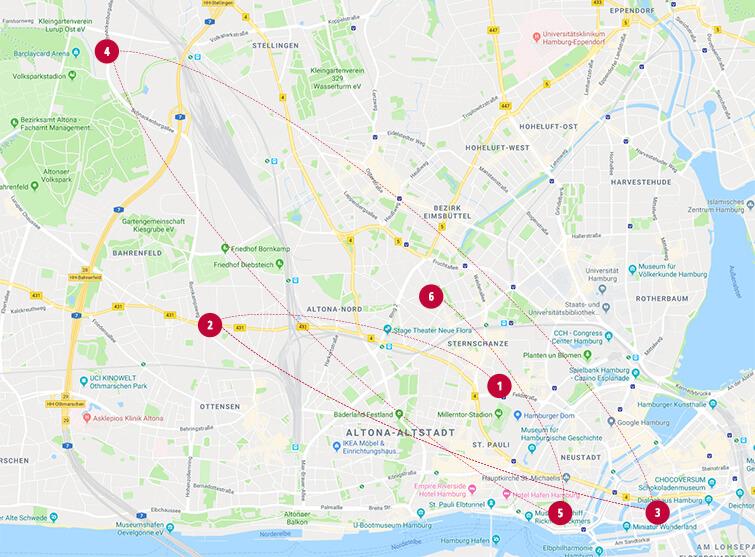 milch & zucker – with locations in Hamburg map